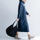夾絲棉高領洋裝連身裙潮冬季新品文藝大尺碼女裝加厚波點中長款打底裙子