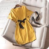 洋裝-短袖簡約純色蝙蝠袖圓領連身裙2色73sz20[時尚巴黎]