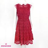 【SHOWCASE】氣質繡花領蕾絲透背及膝洋裝(紅)