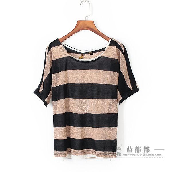 [超豐國際]拉春夏裝新款女裝卡其色條紋針織衫兩件套 0062(1入)
