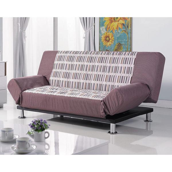 【森可家居】手繪感條紋咖啡色功能沙發床 7JX155-1 布沙發 布套可拆洗