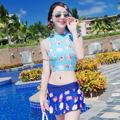 泳衣(三件式)-比基尼-時尚清新冰淇淋印花女泳裝-2色73mb1[時尚巴黎]