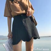裙子春夏新款韓版chic波浪牛仔裙短裙百搭鬆緊腰A字裙半身裙   蜜拉貝爾