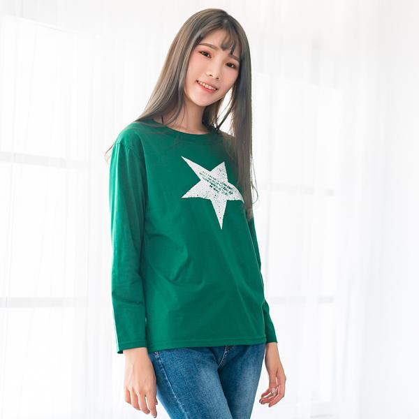 棉T--個性風簡約斑駁星星英字撞色印花寬鬆修身圓領長袖T恤(綠M-3L)-F136眼圈熊中大尺碼
