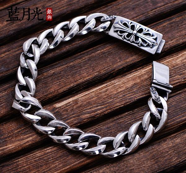 [超豐國際] 925銀飾品復古泰銀平紋手鏈男士款個性時尚潮流