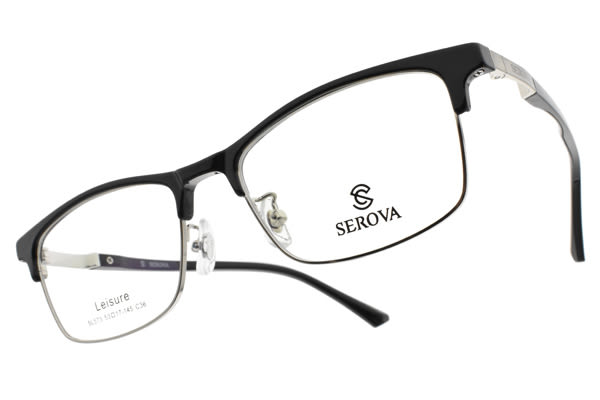 SEROVA光學眼鏡 SL573 C36 (黑-銀) 復古眉框款  #金橘眼鏡