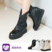 韓系個性穿搭菱格紋金屬吊飾圓頭短跟短靴/4色/35-43碼 (RX1271-906-1) iRurus 路絲時尚