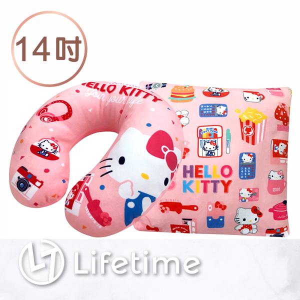 ﹝Kitty45週年兩用U型枕14吋﹞正版絨毛娃娃 可變方型枕 凱蒂貓 36cm〖LifeTime一生流行館〗