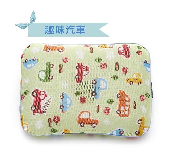 韓國GIO Pillow 超透氣護頭型嬰兒枕頭【趣味汽車-單枕套組-L號】新生兒~2歲以上適用[衛立兒生活館]