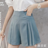 2020春夏裝新款寬鬆雪紡闊腿休閒短褲百褶褲裙A字褲純色高腰修身女 KV6733 『小美日記』