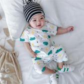 嬰兒連體衣夏裝男0—1歲薄款短袖純棉綢哈衣薄款女寶寶開檔爬爬服
