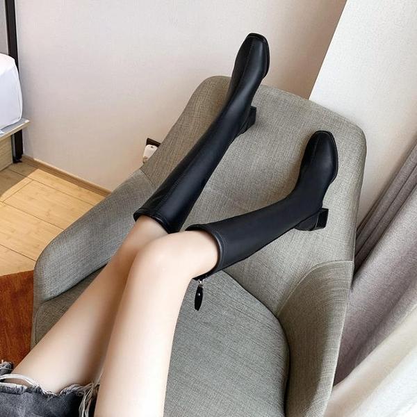 新款長筒靴后拉鍊顯瘦方頭騎士靴女粗跟中跟不過膝高筒彈力靴 智慧e家
