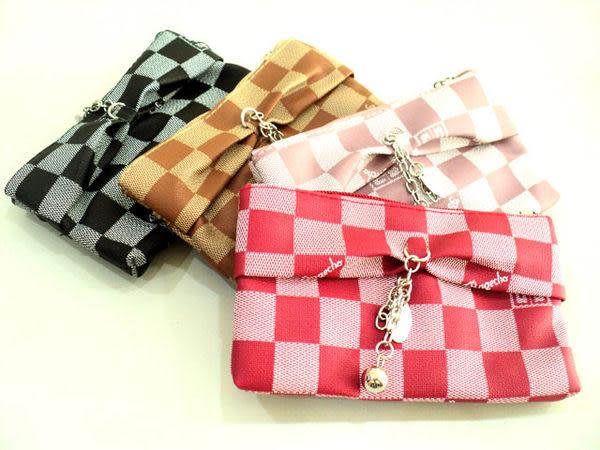 蝴蝶結格紋 皮革雙層化妝包/手機袋/錢包/鑰匙包/皮包/附手繩拎帶/3C數位包/移動電源包/隨身碟