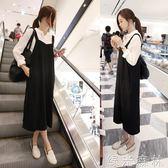 季寬鬆背帶裙 韓版學院風女學生顯瘦連身裙黑色長裙 綠光森林