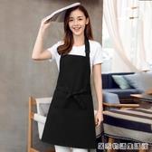 圍裙定制印logo韓版時尚做飯純棉圍腰家用廚房防水防油工作服男女 居家物語