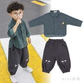 中大尺碼男童套裝新款 韓版潮衣寶寶帥氣套裝男1-3歲兒童襯衫長袖 js8812『miss洛羽』