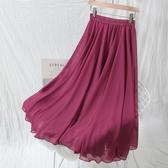 夏季雪紡長裙 及踝仙女裙半身裙2019很仙的網紗裙高腰大擺裙簡約風