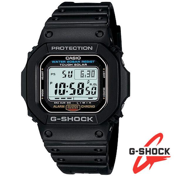 G-SHOCK 經典復刻方形太陽能多功能電子錶・G-5600E-1・公司貨・防水防撞200M|名人鐘錶高雄門市