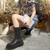 短靴 馬丁靴女夏季薄款英倫風中筒厚底黑色機車短靴潮酷切爾西靴子-Ballet朵朵