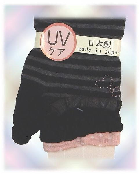 【波克貓哈日網】日本製UV袖套 ◇紗黑底灰條紋◇ 《套至手臂》60cm