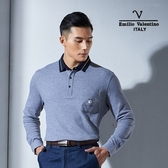 Emilio Valentino范倫鐵諾美式經典條紋純棉POLO衫 (灰)