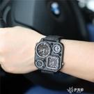 時威堡大塊設計帆布手錶戶外方形指南針軍錶美式戰術潮錶 【快速出貨】