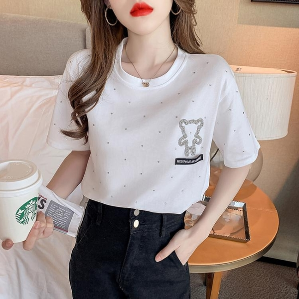 短袖T恤低胸V領小衫T恤~歐貨韓國韓版寬松棉加厚水鉆小熊短袖T恤打底衫內搭上衣FFA029日韓屋