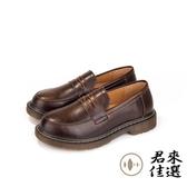 日繫樂福鞋小皮鞋制服鞋女鞋中跟單鞋 棕色 黑色【君來佳選】