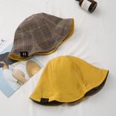 漁夫帽女韓版休閒百搭格子盆帽日系雙面戴韓國帽子文藝潮遮陽帽夏 小明同學