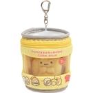 San-X 角落生物 玉米濃湯系列 鑰匙扣半透明收納包 附迷你娃娃 玉米罐頭 黃_XS77713