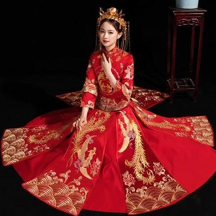 秀禾服新娘秋冬季中式結婚禮服禾服出閣中大尺碼敬酒服女