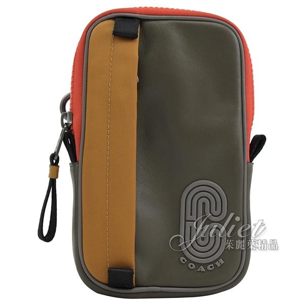 茱麗葉精品【全新現貨】COACH 5803 流線LOGO造型拼色掛式腰掛包.灰/咖