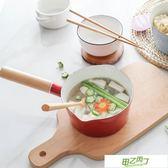 日本加厚琺瑯搪瓷小牛奶鍋單柄鍋寶寶嬰兒熱燉牛奶湯鍋