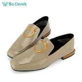 【Bo Derek 】方頭漆皮樂福鞋-卡其灰