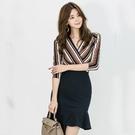 OL洋裝 秋冬韓版氣質V領條紋修身包臀不規則魚尾長袖連身裙潮  店慶降價
