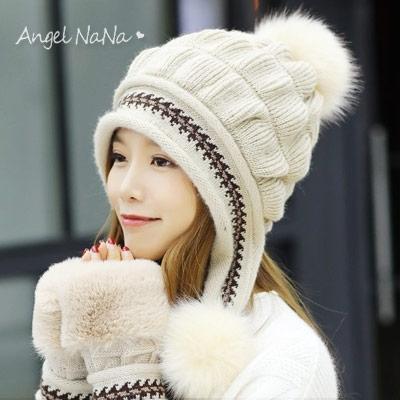 加絨毛線帽-保暖刷毛護耳毛球混兔毛針織帽毛帽 (SHA0013) AngelNaNa
