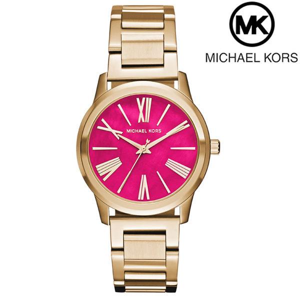 【萬年鐘錶】Michael Kors 羅馬時標 簡約風 不鏽鋼錶 金殼 桃紅色錶面  MK3520