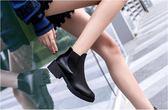 靴子 西短靴女馬丁靴復古英倫皮面平底加絨單靴子  瑪麗蘇