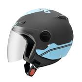 【東門城】ZEUS ZS210B DD89(消光黑藍) 半罩式安全帽 快拆鏡片
