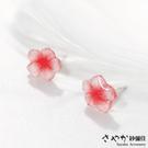 【Sayaka紗彌佳】925純銀粉彩光澤櫻花造型耳環 -單一色系