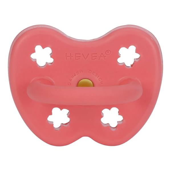 【愛吾兒】丹麥 HEVEA 彩色拇指型奶嘴-珊瑚紅 3個月以上適用