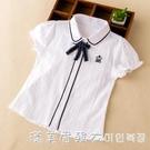 女童白襯衫學院風兒童短袖上衣夏裝女洋氣中大童襯衣童裝2021韓版 美眉新品