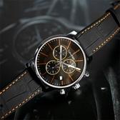 CK / K2G271C1 / 紳士高端奢華三環日期皮革腕錶 橘黑x黑 43mm