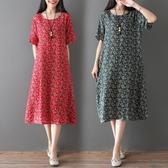 洋裝 連身裙 2019夏季女裝新款民族風文藝印花中大尺碼寬鬆顯瘦短袖中長款女連衣裙  快速出貨