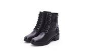 MICHELLE PARK 個性簡約率性牛皮拉鍊粗中跟馬丁短靴-黑