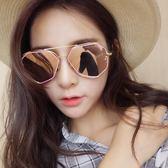 太陽眼鏡 雙層金屬多邊形太陽鏡韓版男女不規則休閒墨鏡【618好康又一發】