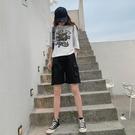 短褲 工裝短褲女夏新款韓版寬鬆直筒bf休閒中褲高腰港味運動五分褲