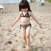 出口韓國可愛豹紋兒童泳衣女童比基尼分體嬰兒游泳衣小孩寶寶泳裝 依夏嚴選