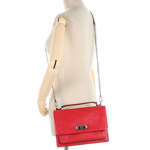 Rebecca Minkoff JE TAIM 菱格壓紋皮革手提斜背兩用包(紅色)220066-3