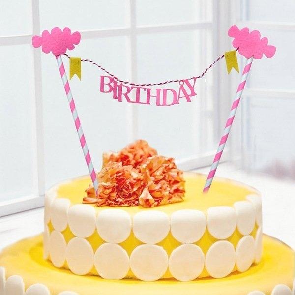 【發現。好貨】生日快樂BIRTHDAY藍粉雲朵生日蛋糕插旗拉旗裝扮用品生日婚慶裝飾野餐派對